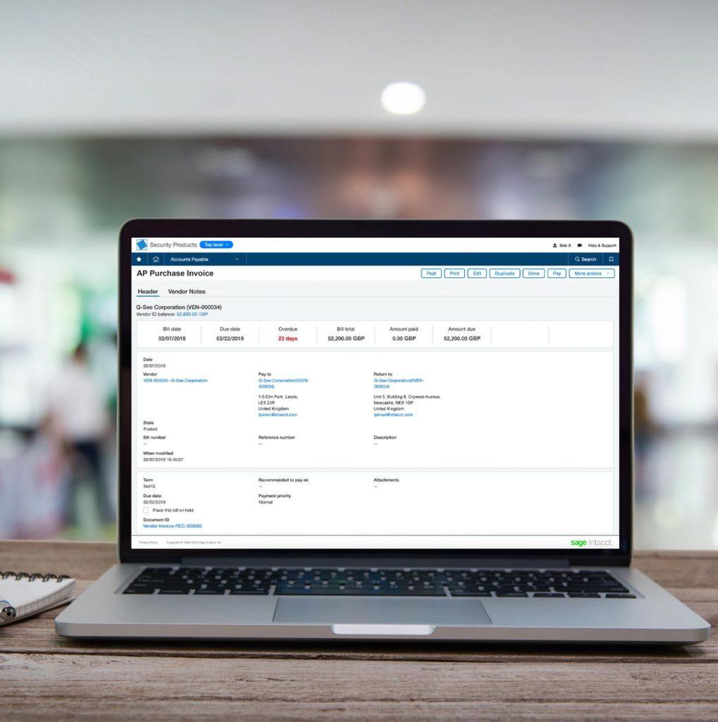 Sage Intacct Accounts Payable Software