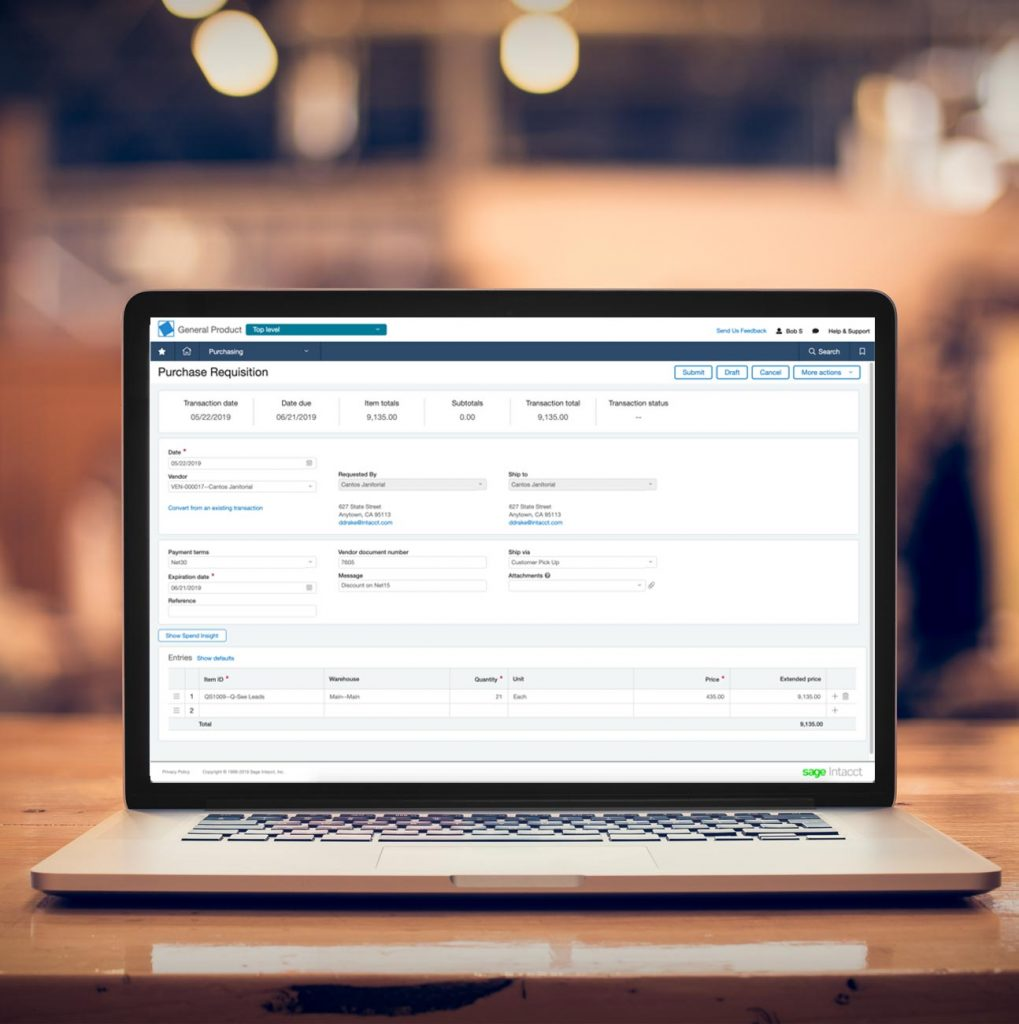 Sage Intacct Purchase Order Software